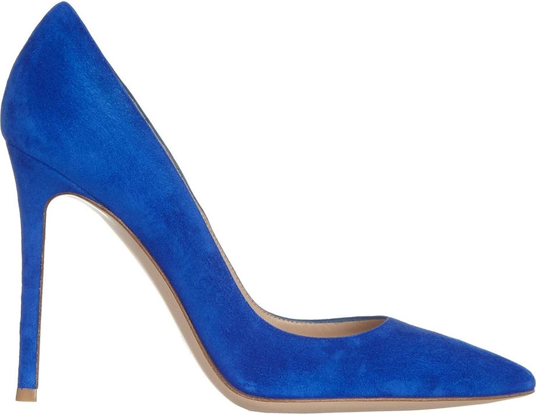 TDA Women's Fashion Simple Design Suede Evening Party Dress Stiletto shoes