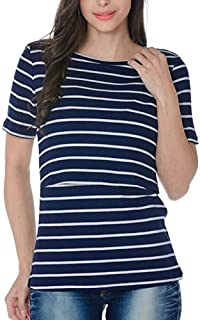 Fulision Nursing Top Short Sleeve Maternity Clothes Breastfeeding Tops