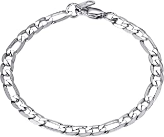 bandmax 316L Stainless Steel Bracelet Jewelry Gift 8.3inch Classic Curb Chain Bracelet for Women/Men with Durable Clasp,18...
