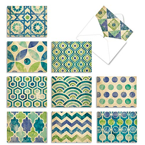 The Best Card Company - 10 All Occasion Note Cards with Envelopes (4 x 5.12 Inch) - Blank Notecard Set - Watercolor Tiles M6685OCB