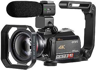 Videocámara Cámara de Video 4K ORDRO AC5 con Zoom óptico de 12x 3.1 'Pantalla Táctil IPS Ultra HD 1080P 60FPS Videocámaras con Cámara Digital con Micrófono y Lente Gran Angular