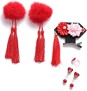 Tracfy Baby Girls Hair Accessories Gift Set Classic Style Baby Girl Hairpin Rabbit Hair Ball Tassel