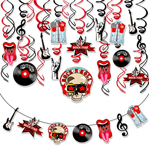 Qpout 31Pcs Rock And Roll Party Favor Decorations, Rock Star Music Party Hanging Swirls Banner Ceiling Hall Decor for Baby Shower Kids Rock Themed Birthday Party 50's 60's Music Theme Party Supplies