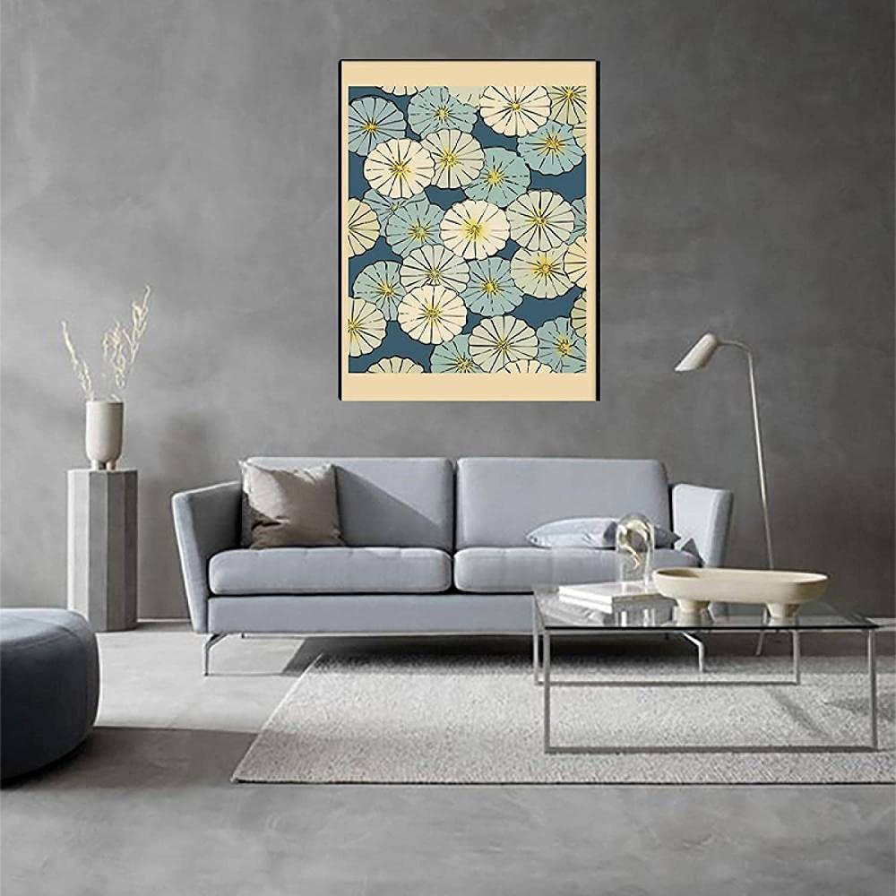 ZGWEI Japanese Blue White Floral 5 ☆ very popular Art Pattern Canvas Japan's largest assortment Painting Pic