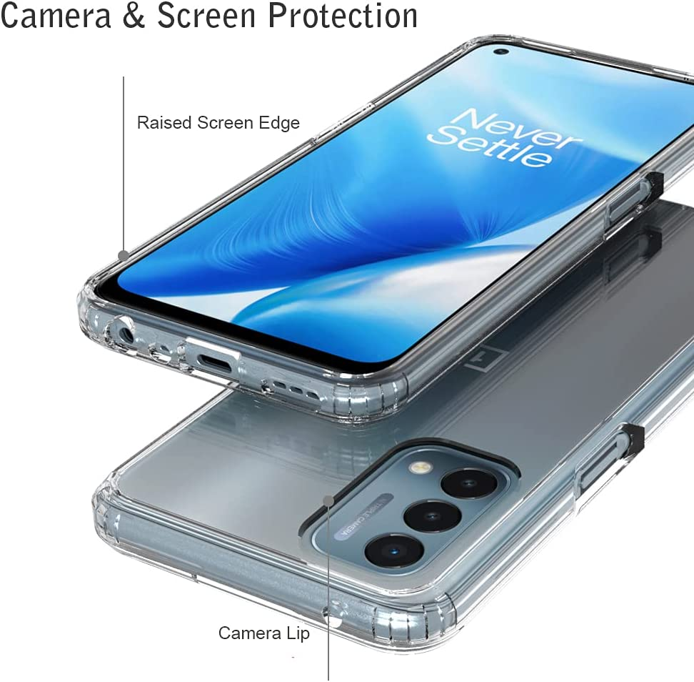 Ftonglogy Cell Phone Case for OnePlus Nord N200 5G, Crystal Slim Air Buffer Clear TPU [Drop Proof]+ PC Shockproof Phone Protective Case Cover for OnePlus Nord N200 5G (Clear)