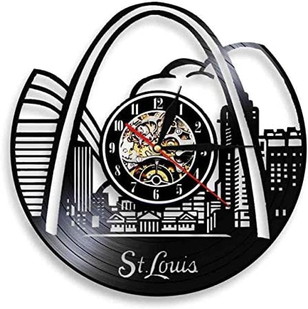 thetobea Reloj de Pared de Vinilo con diseño de Horizonte de St. Louis, Reloj de Pared de Vinilo con Paisaje Retro Moderno, decoración de Pared