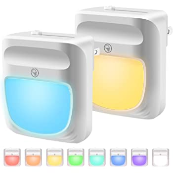 Plug in Night Light for Kids Dimmable - Color Changing LED Nightlight, Dusk to Dawn, Warm White Night Lamp for Baby Room, Bedroom, Hallway, Kitchen, Bathroom, Stairs (RGB 2PC)