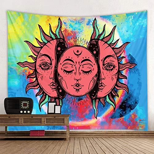 KHKJ Tarot Sol y Luna Manta Indio Mandala Tapiz Colgante de Pared Bohemio Gitano psicodélico Tapiz brujería Tapiz A1 150x130cm