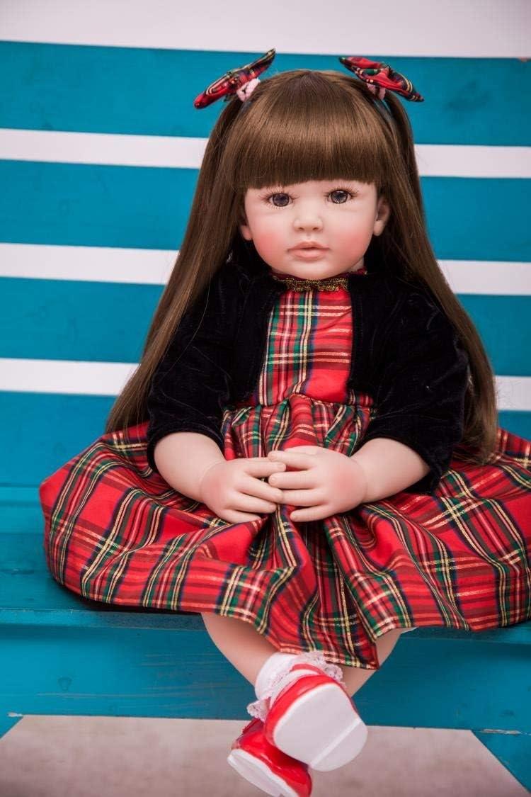 Zero Pam 61CM Realista Niña Toddler Reborn Bebé Muñecas Niñita Pelo Largo Chica Vinilo de Silicona Muñecos Reborn Baby Dolls Niños Juguetes Conjunto (1901)