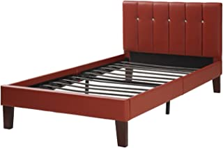 Benjara Faux Leather Upholstered Twin Bed, Red