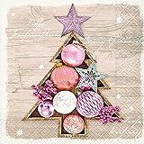 20 tovaglioli natalizi con palline e stelle, albero di Natale, su legno, 25 x 25 cm
