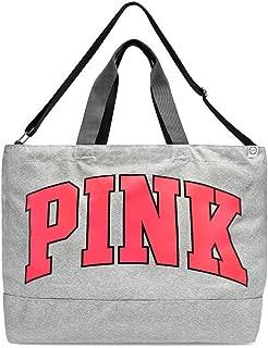 Pink Weekender 2017 Oversized Duffle Tote Bag Grey Neon Red Logo