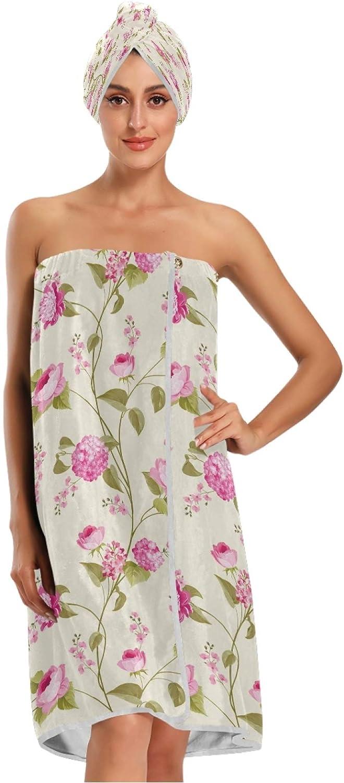 Qilmy Wrap Philadelphia Mall Bath Towels Set for Flower 1 year warranty Vi Peony Spring Women 3PCS