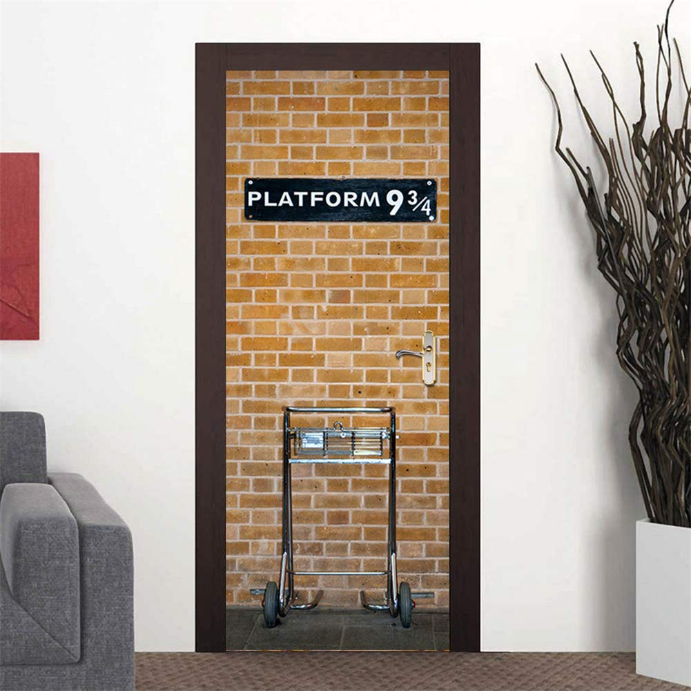Amazon Co Jp 3dレトロなドアステッカー自己接着ビニール壁画写真の壁紙取り外し可能なドアのステッカー寝室 オフィス 家のドアのアートの装飾 ホーム キッチン