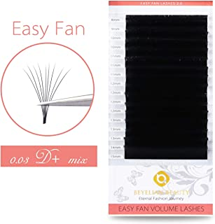 BEYELIAN Easy Fan Eyelash Extensions Full Mega Volume Self Fanning Mink Lash Extensions Stylists Use .03mm up to 16D 20D Dramatic Look D+ Curl Mixed Tray 7-15mm