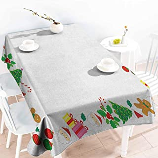 EwaskyOnline Water Resistant Table Cloth,Kids Christmas Colorful Border with Different Clip Arts Holiday Festivity Santa Trees Balls,High-end Durable Creative Home,W60x120L, Multicolor