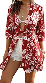 LINYIOU77 Summer Beach Dresses for Women Retro Flower Printed Boho V-Neck Short Sleeve Stitching Irregular Dress (XL, Red)