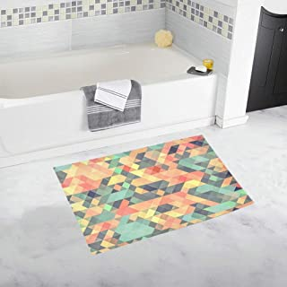 Texture Pixels Tile Geometric Mosaic Custom Non-slip Bath Mat Rug Bath Doormat Floor Rug For Bathroom 20 X 32 Inch