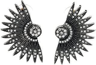 Black Art Deco Fan Feather Chunky Stud Earrings