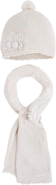 Little Girls Flower Applique Angora Blend Knit Hat/Scarf Set