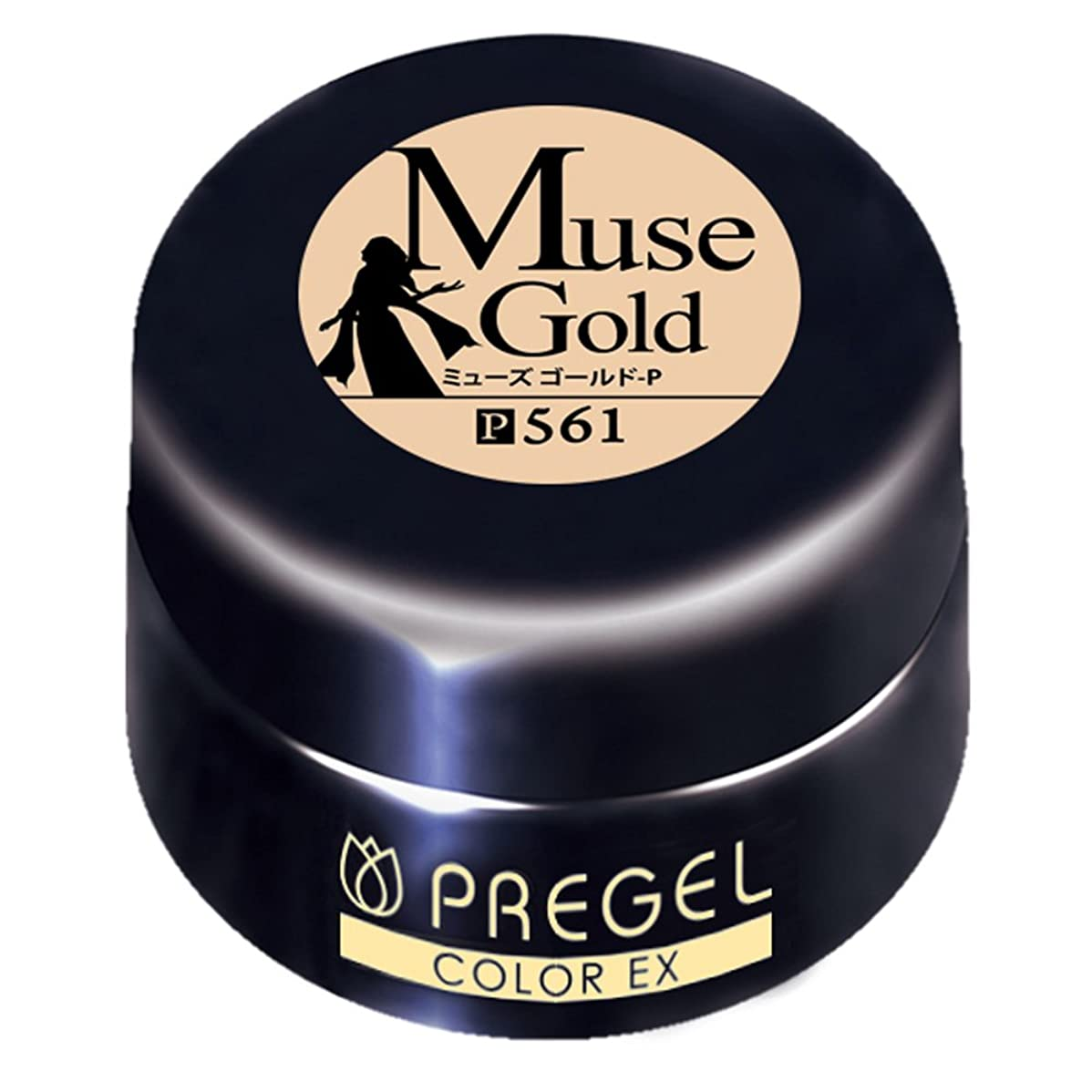なすドライ冷ややかなプリジェル ジェルネイル カラーEX ミューズゴールド 4g PG-CE561