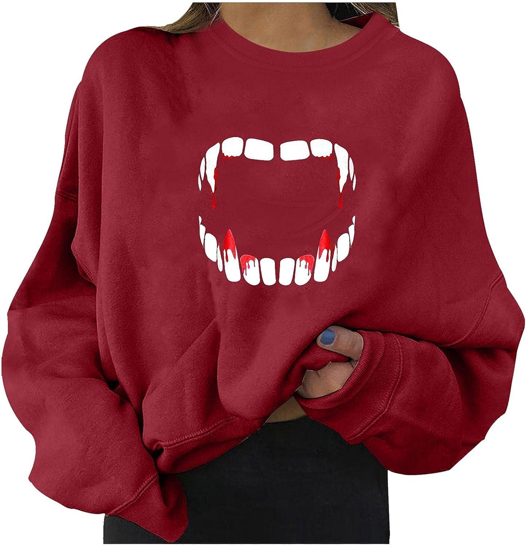Sweatshirts For Women Pullover, Womens Trendy Graphic Loose Sweater Halloween Long Sleeve Tops Lightweight Sweatshirts