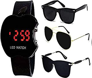 Y&S Men's Sunglasses Combo with LED Watch (Black)