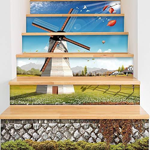 Pegatinas Autoadhesivas para escaleras Simple 6 unids 3D Pastoral Windmill Escalera Risers Mural Vinilo Wallpaper Sticker Etiquetas engomadas de la Pared y murales