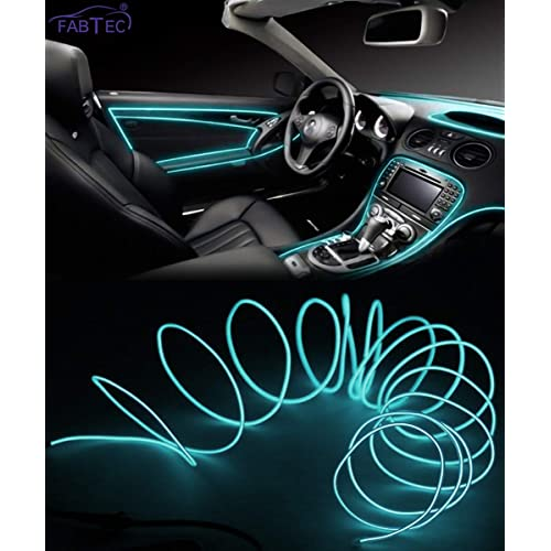 FABTEC EL Wire Car Interior Light Ambient Neon Light for Cars With Controller (Ice Blue, 5 Meter)
