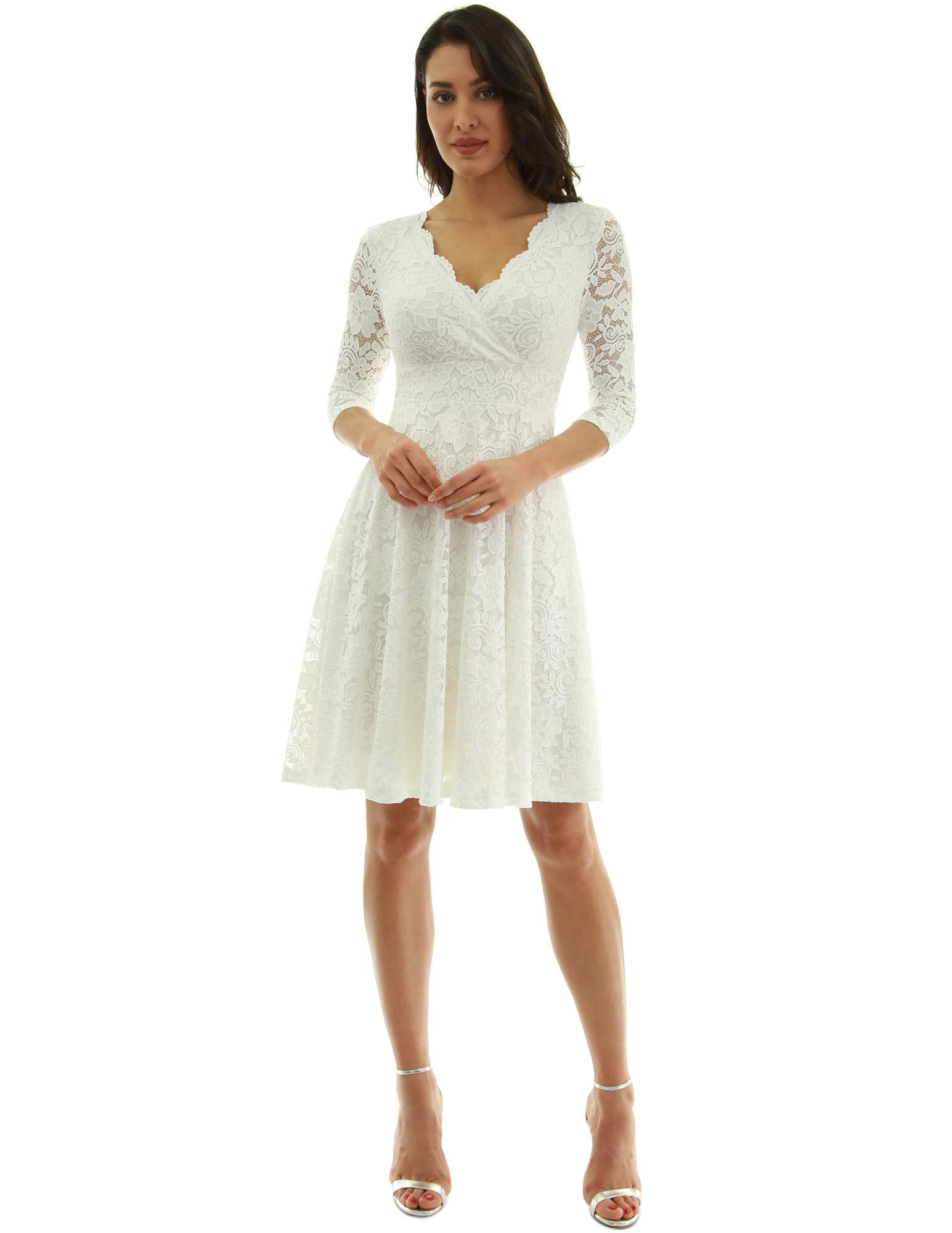 White Dress - Women Floral Lace Overlay Fit And Flare Dress