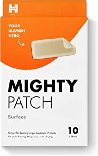 Best Mighty Patch Surface - Hydrocolloid Large Acne Pimple Patch Spot Treatment (10 count) for Body and Larger Breakouts on Cheek, Forehead, Chin, Vegan, Cruelty-Free Review
