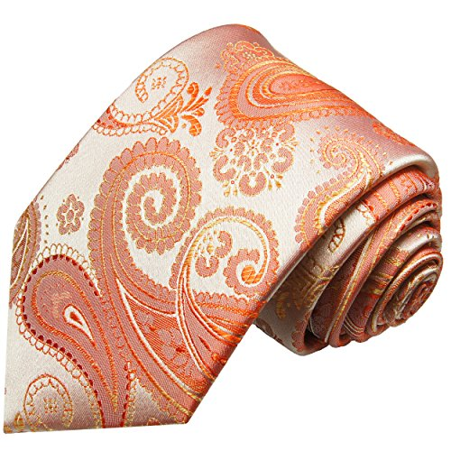 Cravate homme corail paisley 100% cravate en soie ( longueur 165cm )