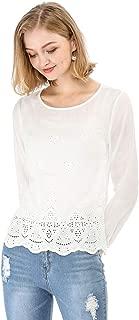 Women's Long Sleeves Scalloped Hem Crochet Embroidery Blouse