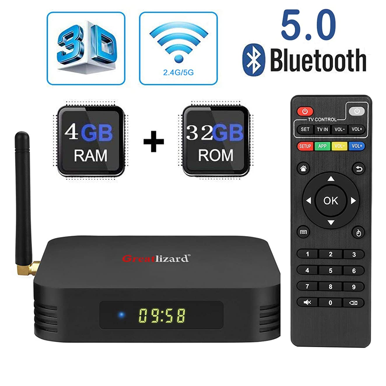 Android 9.0 TV Box,Greatlizard TX6 Android Box 4GB DDR3 32GB ROM BT5.0 Dual WiFi 2.4G+5G Quad Core 1080p 4K 6K USB 3.0 HDR Smart TV Media Box