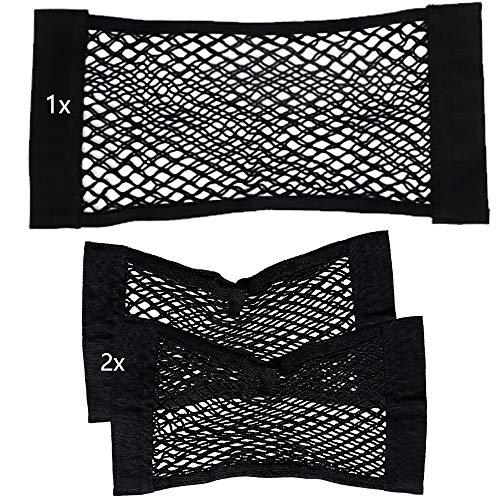3 pezzi borsa portabagagli organizer per auto, rete elastica in nylon per bagagli con nastro a gancio sottile, set di trasporto per sedile posteriore bagagliaio rete vasca, 2x(40x25cm) + 1x(60x25cm)
