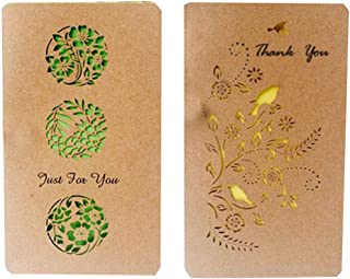 2PCS Kraft Paper Beautifully Christmas Card Holiday Greetings Cards Blessing Festival Cards DIY Mother's Day Wish Cards(Thank You)