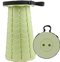 KAMAW Taburetes plegables retráctiles, altura ajustable, portátil, ligero, de plástico, para viajes al aire libre, camping, pesca, jardín, hogar, taburete plegable, verde