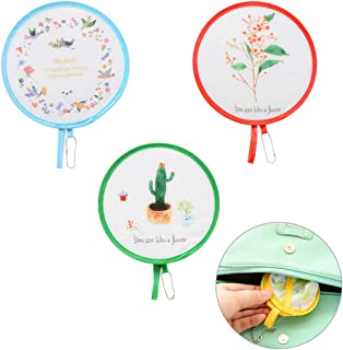 Oyachic 3pcs Foldable Round Handheld Fans Mini Cloth Folding Fans Portable Small Fan with A Chain for Decoration,Travel,Picnic(Random 3 Colors)