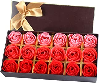 StyleZ 18PCS/Set Rose Flower Petals Shaped Plant Essential Oil Soap Floral Scented Bath Soap, Ideal gift for Mother's Day/Anniversary/Birthday/Wedding to Lady Women Girl (Red)