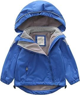 Little Girls Raincoat, Kids Plush Cartoon Waterproof Jacket Hooded Coat Zipper Button Windproof Outwear