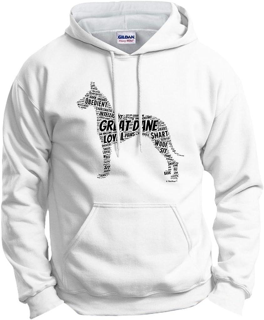 Great 豪華な Dane Word Art Dog Hoodie Sweatshirt Puppy 2020秋冬新作 Gift Owner
