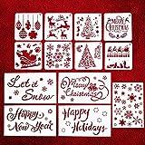 7thLake 13 Stücke Weihnachten Schablonen Set,Wiederverwendbare Kunststoff Zeichenschablonen für Bullet Journal, Scrapbooking, Fotoalbum, Gästebuch, DIY Geschenkkarten