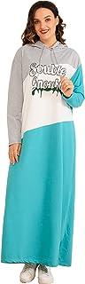 MAI&FUN Women Dress Spring Summer Casual Plus Size Dress Long Sleeve Blue Fashion Loose Sports Dress With Hat