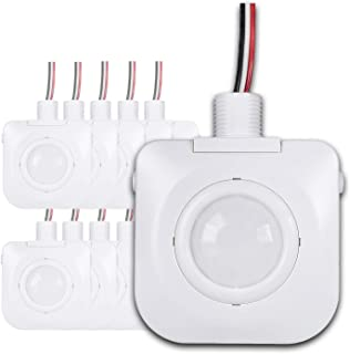 (Pack of 10) Ceiling Occupancy Motion Sensor - Passive Infrared Technology - High Bay Fixture Mount 360 Degree - Hard-Wired, 120-277VAC, Commercial/Industrial Grade, White