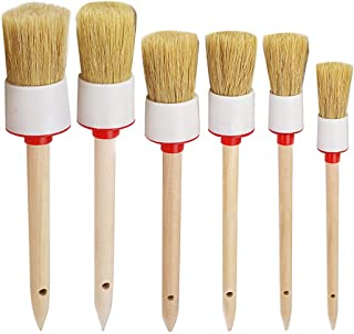 Outgeek Auto Detailing Brush Set,6Pcs Car Brush Premium Natural Boar Hair with Wood Handle Bristle Car Cleaner Brush for C...