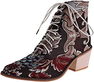 SEXYTOP Women's Vinatge Embroidery Ankle Bootie Lace-Up Pointed Toe Square Heels Boots Valencia Tunatti Pumps Shoes