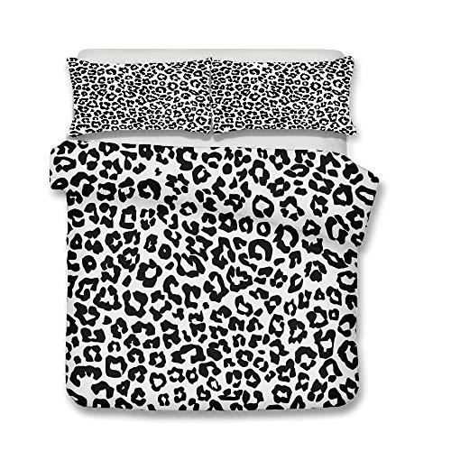 Treer Set di Biancheria da Letto Matrimoniale 3 Pezzi, 3D Camuffamento Leopardo Microfibra Morbida Copripiumini Federe, 1 Copripiumino + 2 Federe (220x260cm,Nero Bianco)