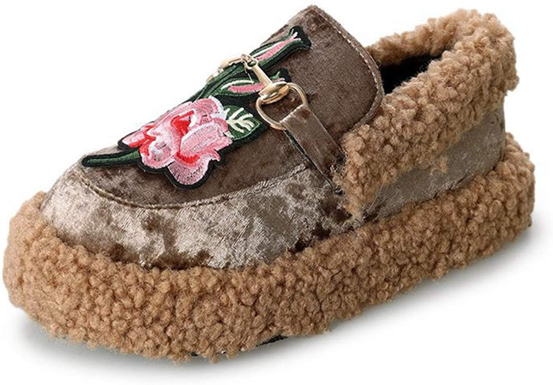 York Zhu Women Plush Slippers,Women Cotton Winter Warm Thicken Fleeces Inside Slippers