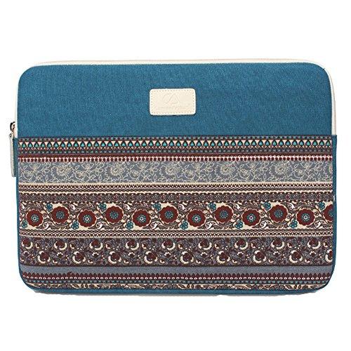 14 Zoll Laptophülle, Bohème Stil Canvas-Gewebe Hülle Sleeve Tasche für Laptop/Notebook Computer/MacBook/MacBook Pro/MacBook Air Blau