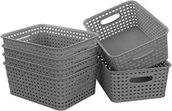 Morcte Grey Plastic Storage Basket Bins Organizer, 6-Pack